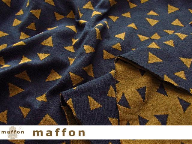 【 maffon (マフォン) 】 約75cm幅 リバーシブルジャガード接結ニット 『 パーティークラッカー柄 』 ネイビー/シナモン