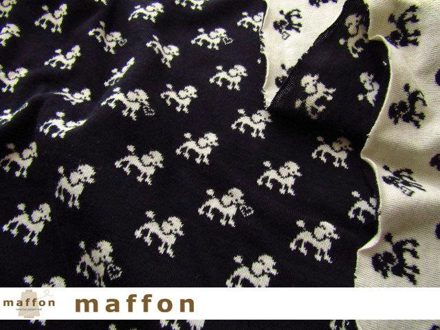 【 maffon (マフォン) 】 約75cm幅 リバーシブルジャガード接結ニット 『プードル柄 』 黒/アイボリー