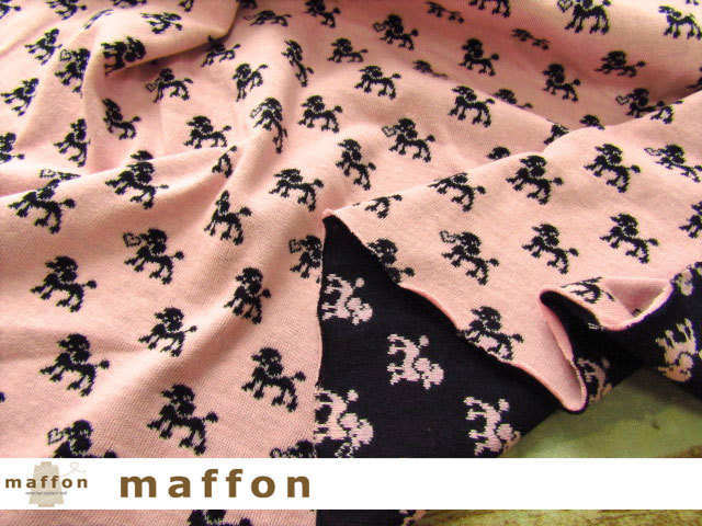 【 maffon (マフォン) 】 約75cm幅 リバーシブルジャガード接結ニット 『プードル柄 』 フレッシュピンク/黒