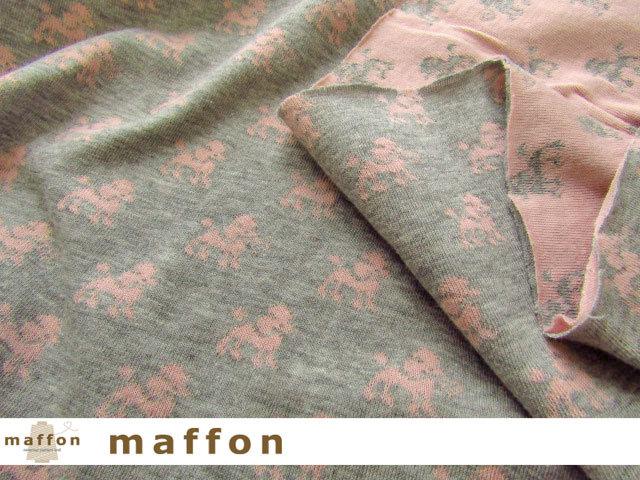 【 maffon (マフォン) 】 約75cm幅 リバーシブルジャガード接結ニット 『プードル柄 』 杢グレー/ピンク