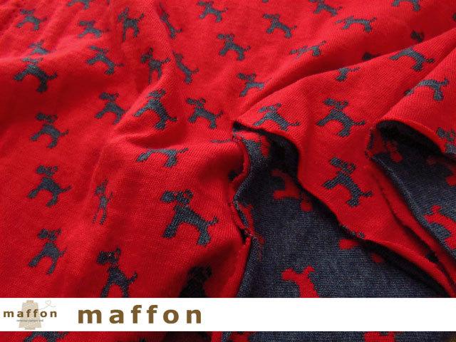 【 maffon (マフォン) 】 約75cm幅 リバーシブルジャガード接結ニット 『 テリア柄 』 杢ネイビー/レッド