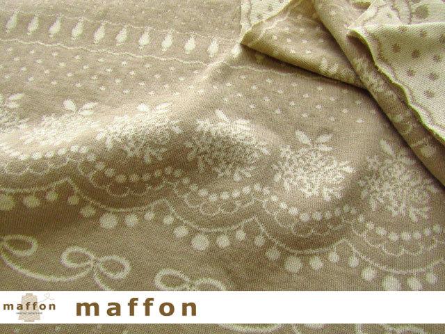【 maffon (マフォン) 】 約75cm幅 リバーシブルジャガード接結ニット 『レース&ビジュー柄 』 ベージュ/アイボリー