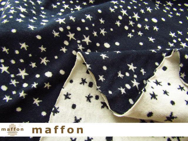 【 maffon (マフォン) 】 約75cm幅 リバーシブルジャガード接結ニット 『流星柄 』 ネイビー/アイボリー