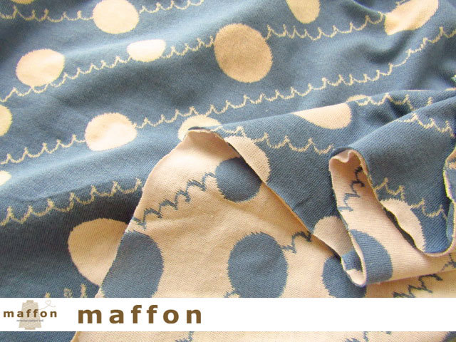【 maffon (マフォン) 】 約75cm幅 リバーシブルジャガード接結ニット 『 ドット&フリル柄 』 デニム/パインピンク