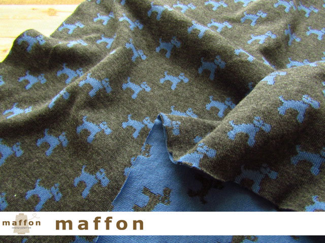 【 maffon (マフォン) 】 約75cm幅 リバーシブルジャガード接結ニット 『 テリア柄 』 ダーク杢グレー/オリエンタルブルー