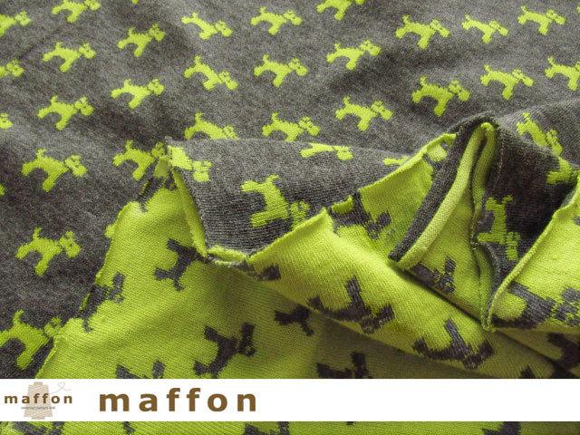 【 maffon (マフォン) 】 約75cm幅 リバーシブルジャガード接結ニット 『 テリア柄 』 ダーク杢グレー/青りんご