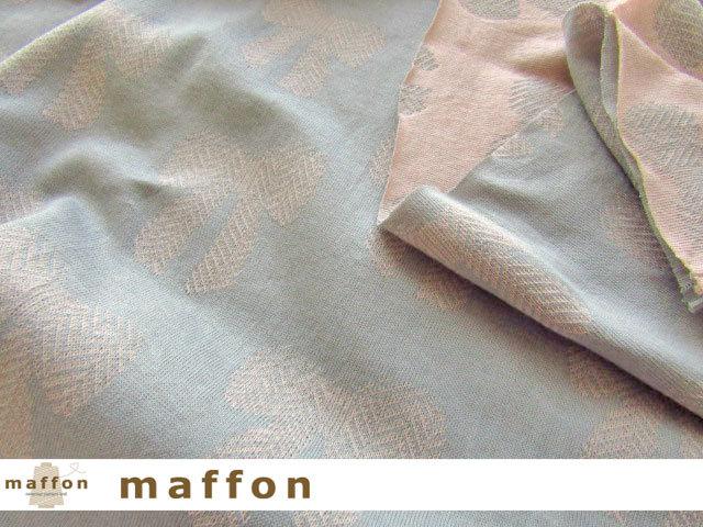 【 maffon (マフォン) 】 約75cm幅 リバーシブルジャガード接結ニット 『リボンイベール柄 』 フレンチピンク/アッシュ