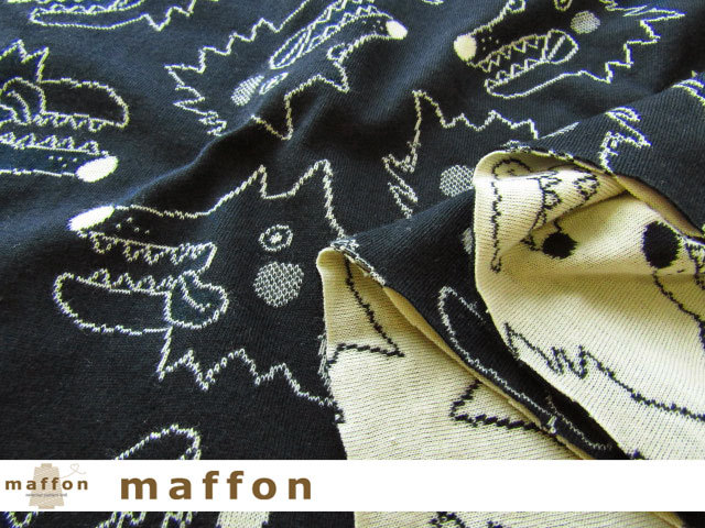 【 maffon (マフォン) 】 約75cm幅 リバーシブルジャガード接結ニット 『 おおかみ柄 』 ネイビー/バニラ