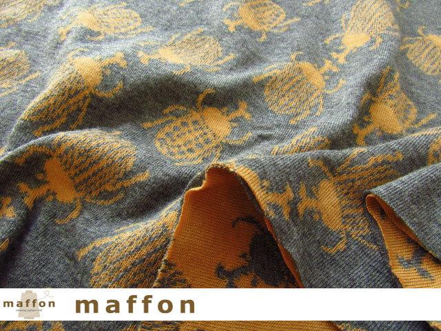 【 maffon (マフォン) 】 約75cm幅 リバーシブルジャガード接結ニット 『 カブトムシ柄 』  ダーク杢グレー/クチナシ