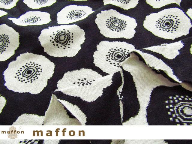 【 maffon (マフォン) 】 約75cm幅 リバーシブルジャガード接結ニット 『 コクリコ柄 』 黒/アイボリー