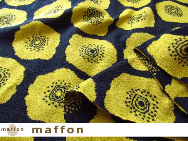 【 maffon (マフォン) 】 約75cm幅 リバーシブルジャガード接結ニット 『 コクリコ柄 』 ネイビー/ミモザ