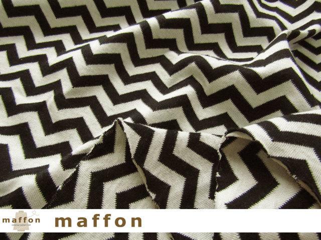 【 maffon (マフォン) 】 約75cm幅 リバーシブルジャガード接結ニット 『 へリンボン柄 』 黒/アイボリー