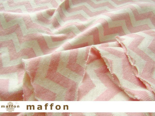 【 maffon (マフォン) 】 約75cm幅 リバーシブルジャガード接結ニット 『 へリンボン柄 』 ピンク/アイボリー