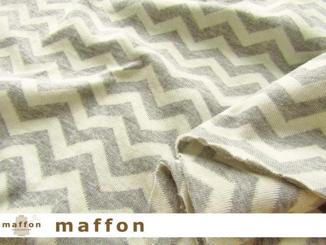 【 maffon (マフォン) 】 約75cm幅 リバーシブルジャガード接結ニット 『 へリンボン柄 』 杢グレー/アイボリー