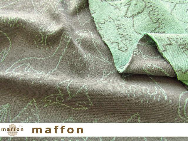 【 maffon (マフォン) 】 約75cm幅 リバーシブルジャガード接結ニット 『 ダイナソー柄 』 ミドルグレー/ミント