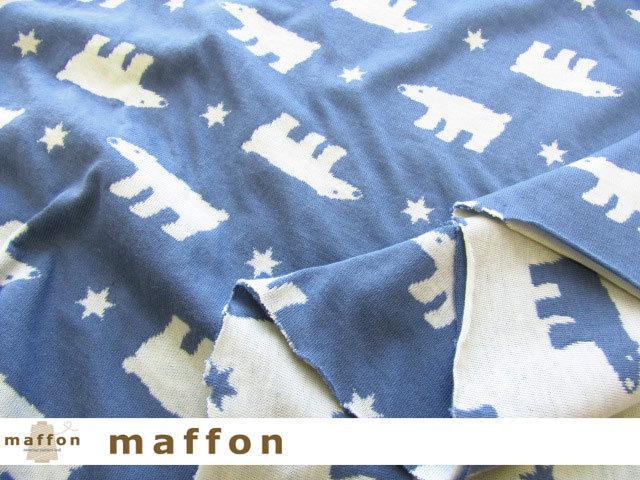 【 maffon (マフォン) 】 約75cm幅 リバーシブルジャガード接結ニット 『 しろくま柄 』 デニム/アイボリー