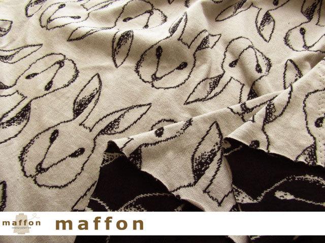 【 maffon (マフォン) 】 3回目の再入荷! 約75cm幅 リバーシブルジャガード接結ニット 『 おすましうさぎ柄』 黒/ベージュ