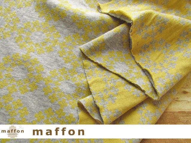 【 maffon (マフォン) 】 3回目の再入荷!約75cm幅 リバーシブルジャガード接結ニット 『 フラワーリング 』 杢グレー/ミモザ