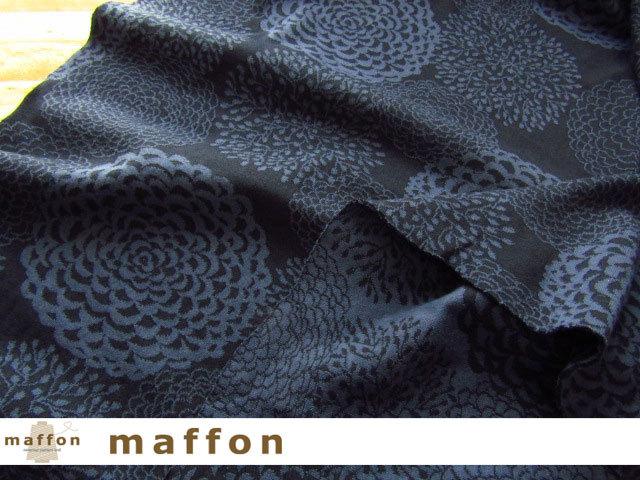 【 maffon (マフォン) 】 約75cm幅 リバーシブルジャガード接結ニット 『 ダリア柄 』 ネイビー/ダルブルー