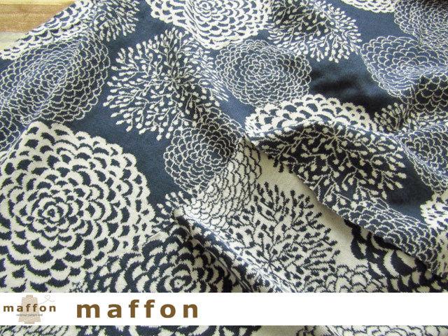 【 maffon (マフォン) 】3回目の再入荷! 約75cm幅 リバーシブルジャガード接結ニット 『 ダリア柄 』 ダルブルー/アイボリー