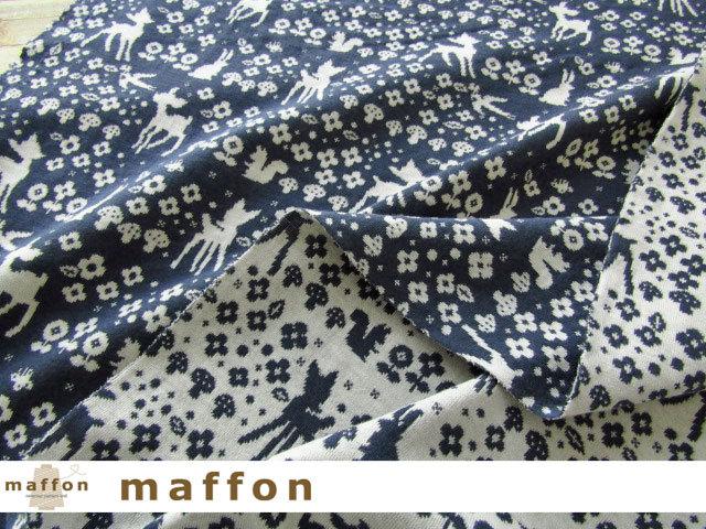 【 maffon (マフォン) 】2回目の再入荷! 約75cm幅 リバーシブルジャガード接結ニット 『 フェアリーテール柄 』 ダルブルー/アイボリー