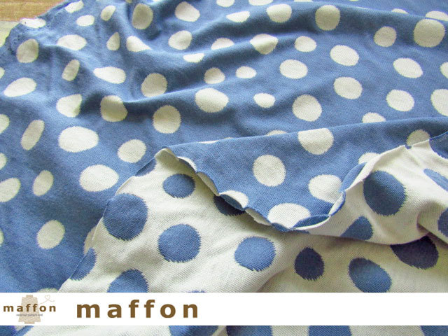 【 maffon (マフォン) 】2回目の再入荷! 約75cm幅 リバーシブルジャガード接結ニット 『バブルドット柄 』 デニム/アイボリー