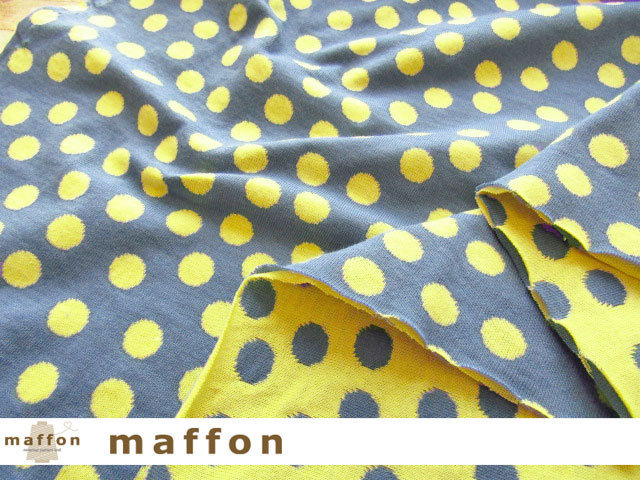 【 maffon (マフォン) 】2回目の再入荷! 約75cm幅 リバーシブルジャガード接結ニット 『 ドロップキャンディ柄 』 デニム/レモン