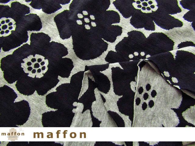 【 maffon (マフォン) 】2回目の再入荷! 約75cm幅 リバーシブルジャガード接結ニット 『 アネモネ柄 』  黒/杢グレー