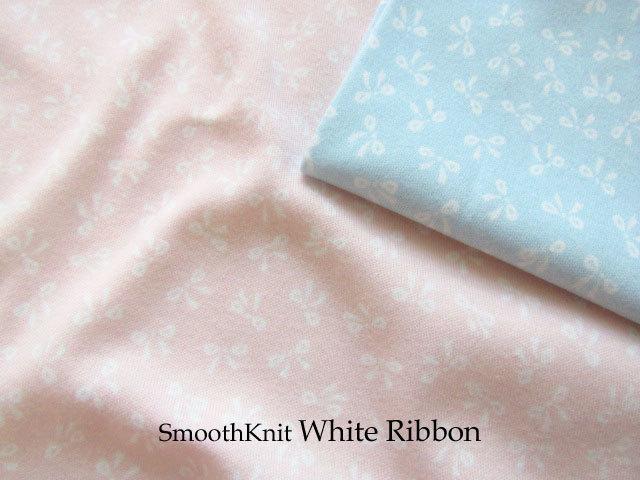 【スムースニット】 約110cm幅  『 White Ribbon(ホワイト リボン) 』