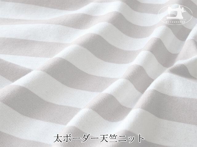 【アパレル使用反】 太ボーダー天竺ニット ライトグレー×オフホワイト