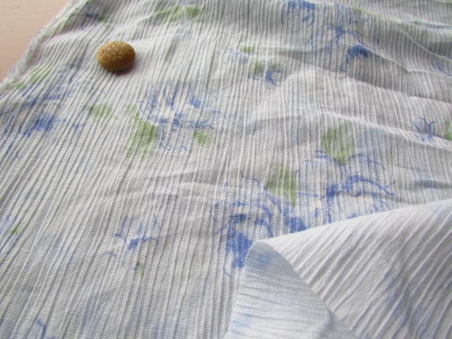 アウトレット!楊柳プリント〈うっすら水色〉 約2mカット