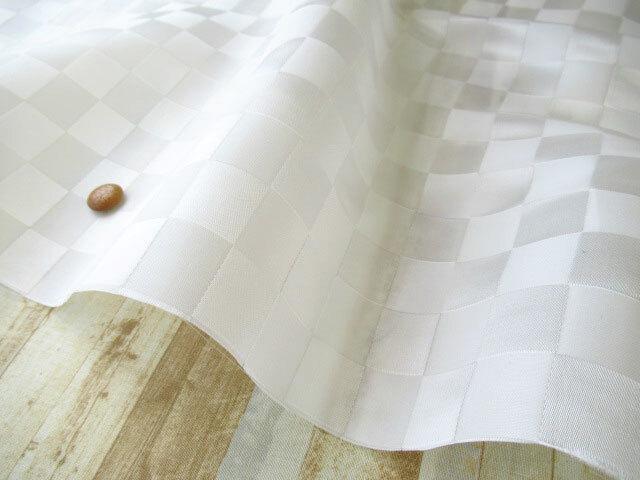 アウトレット! ≪バッグ向き≫半透明ナイロン 市松柄 オフホワイト系 約50cmカット