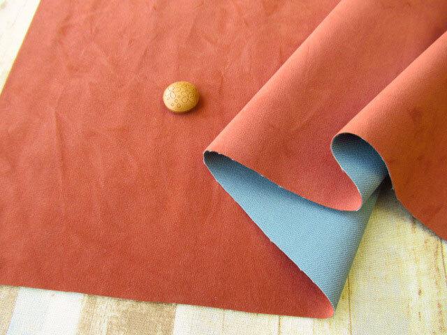 アウトレット! ≪バッグ向き≫人工皮革スエード レンガ色系 約50cmカット
