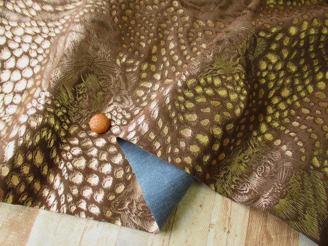 アウトレット! ≪バッグ向き≫人工皮革スエード(豹柄プリント) ブラウン×ゴールド系 約50cmカット