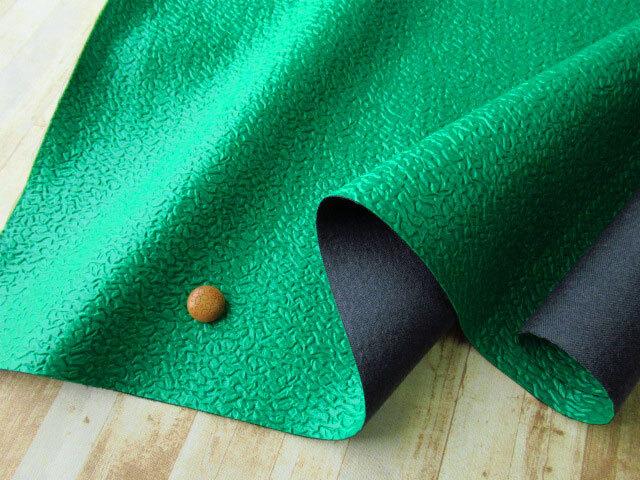 アウトレット! ≪バッグ向き≫凹凸感のあるレザー生地 グリーン系 約50cmカット