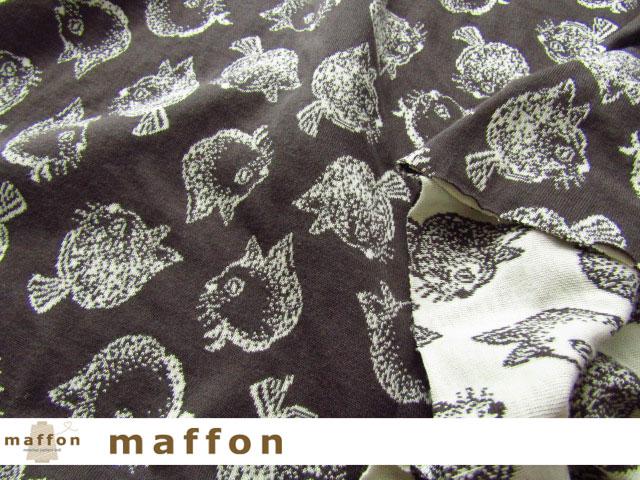 【 maffon (マフォン) 】 約75cm幅 リバーシブルジャガード接結ニット 『 キティ柄 』 エボニー/アイボリー