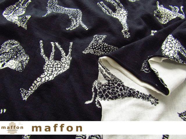 2回目の再入荷! 【 maffon (マフォン) 】 約75cm幅 リバーシブルジャガード接結ニット 『 サファリ柄 』 黒/アイボリー