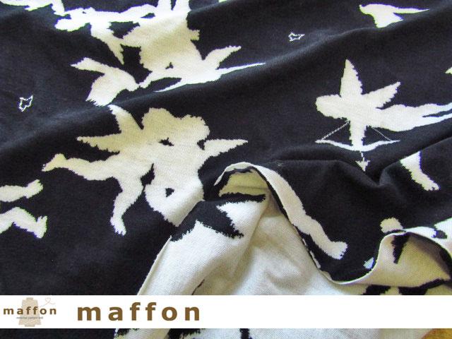 【 maffon (マフォン) 】 約75cm幅 リバーシブルジャガード接結ニット 『 エンジェル柄 』  黒/アイボリー
