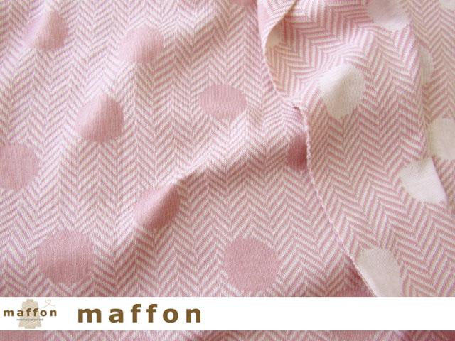 【 maffon (マフォン) 】 約75cm幅 リバーシブルジャガード接結ニット 『 ツィードドット柄 』  フレンチローズ/アイボリー