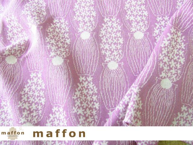 【 maffon (マフォン) 】 約75cm幅 リバーシブルジャガード接結ニット 『 ヒヤシンス柄 』  アメジスト/アイボリー