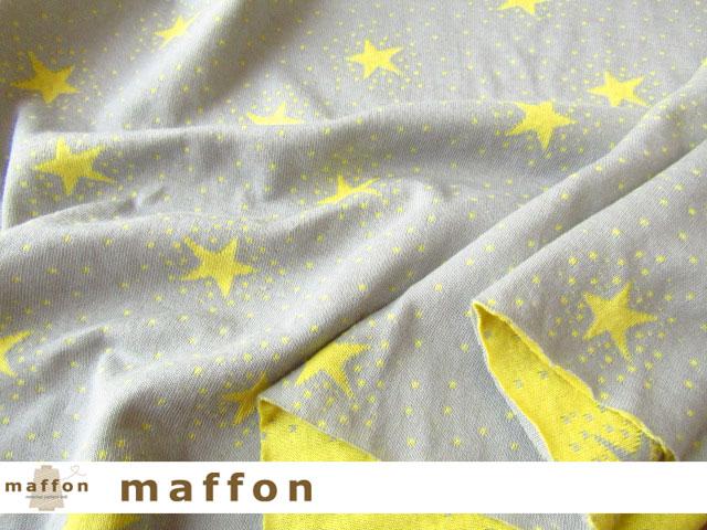 3回目の再入荷! 【 maffon (マフォン) 】 約75cm幅 リバーシブルジャガード接結ニット 『 トゥインクルスター柄 』  アッシュ/レモン