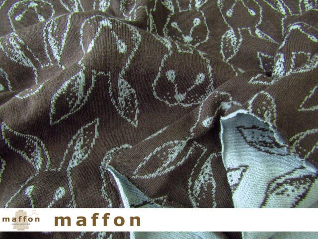 【 maffon (マフォン) 】 約75cm幅 リバーシブルジャガード接結ニット 『 プティラパン柄 』  エボニー/カデットブルー