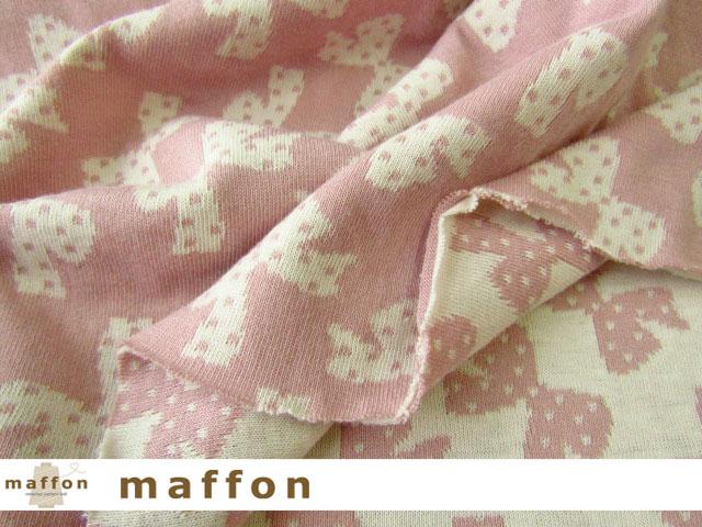 【 maffon (マフォン) 】 約75cm幅 リバーシブルジャガード接結ニット 『 ドットリボン柄 』  フレンチローズ/アイボリー