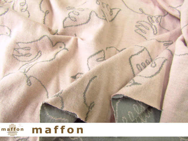 【 maffon (マフォン) 】 約75cm幅 リバーシブルジャガード接結ニット 『 ピジョン柄 』  ムーングレー/フレンチピンク