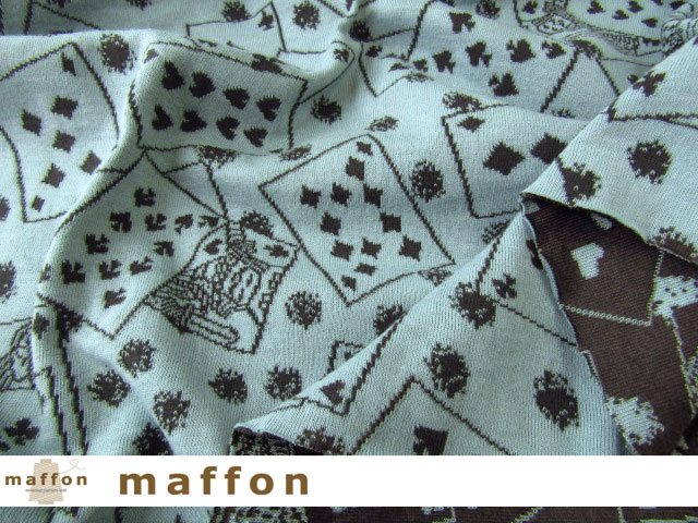 【 maffon (マフォン) 】 約75cm幅 リバーシブルジャガード接結ニット 『 トランプ柄 』  エボニー/カデットブルー