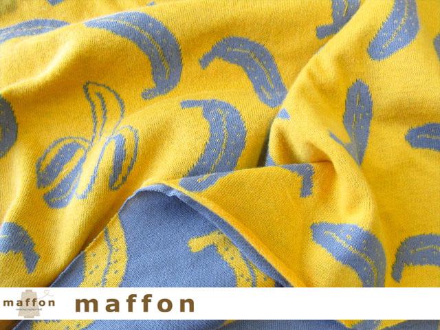 【 maffon (マフォン) 】 約75cm幅 リバーシブルジャガード接結ニット 『 バナナ柄 』  デニム/イエロー