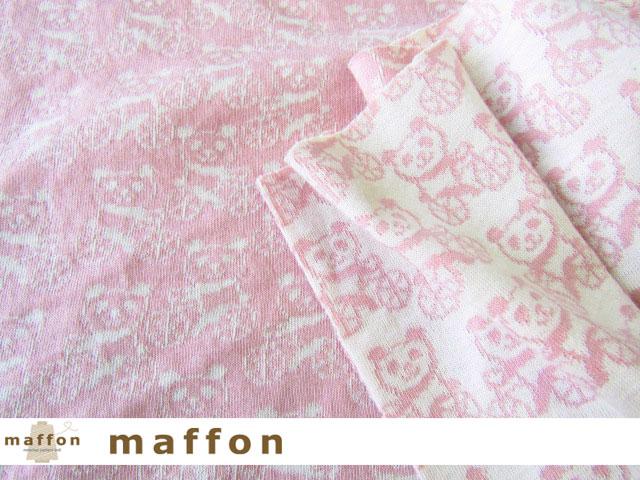 【 maffon (マフォン) 】 約75cm幅 リバーシブルジャガード接結ニット 『 サイクリングパンダ柄 』 ピンク/アイボリー