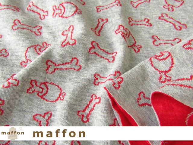 【 maffon (マフォン) 】 約75cm幅 リバーシブルジャガード接結ニット 『 アイラブボーン柄 』 杢グレー/赤
