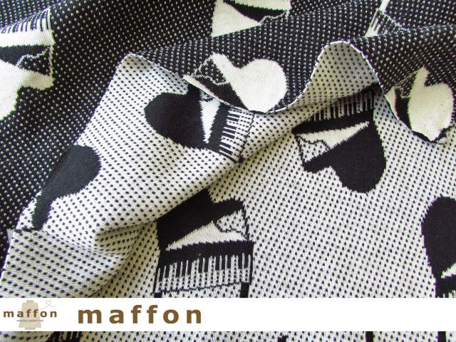 【 maffon (マフォン) 】 約75cm幅 リバーシブルジャガード接結ニット 『 トイピアノ柄 』  黒/アイボリー