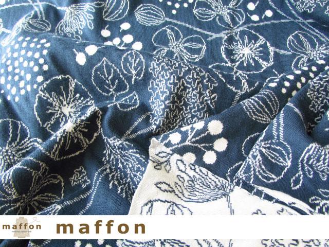 【 maffon (マフォン) 】 約75cm幅 リバーシブルジャガード接結ニット 『フロリスト柄 』  ダルブルー/アイボリー
